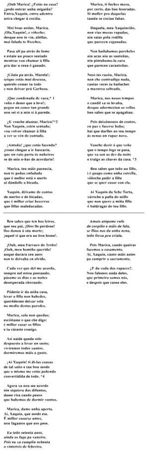 Parrafeo de Xaquín da Sebe Torta e Marica (, Olas)