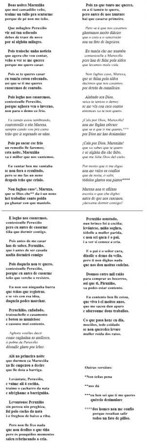 Copla de Maruxiña e Peruchiño (Carmela Vázquez Labandeira, Albixoi)