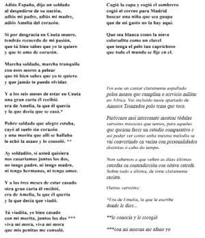 Cantar de Amelia (Lola Lage Morandeira, Anxeriz)