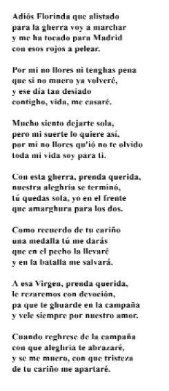 Cantar de Cego da guerra de España (Lola Lage Morandeira, Anxeriz)